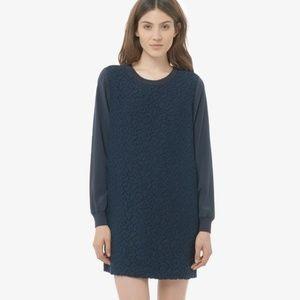 Vince Navy Overlay Lace Shift Silk Mini Dress